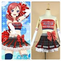 Japanese Anime Love Live! Cheerleader Maki Nishikino Cosplay Costume Uniform Outfit Cheer Dress