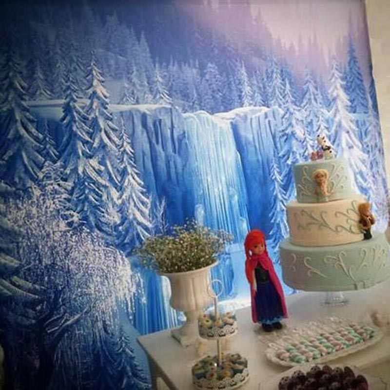 التصوير خلفية شلال الشتاء الخلابة الغابات أشجار Icefall الأميرة الفتاة عيد ميلاد كابينة عرض الصور الجماعية خلفية