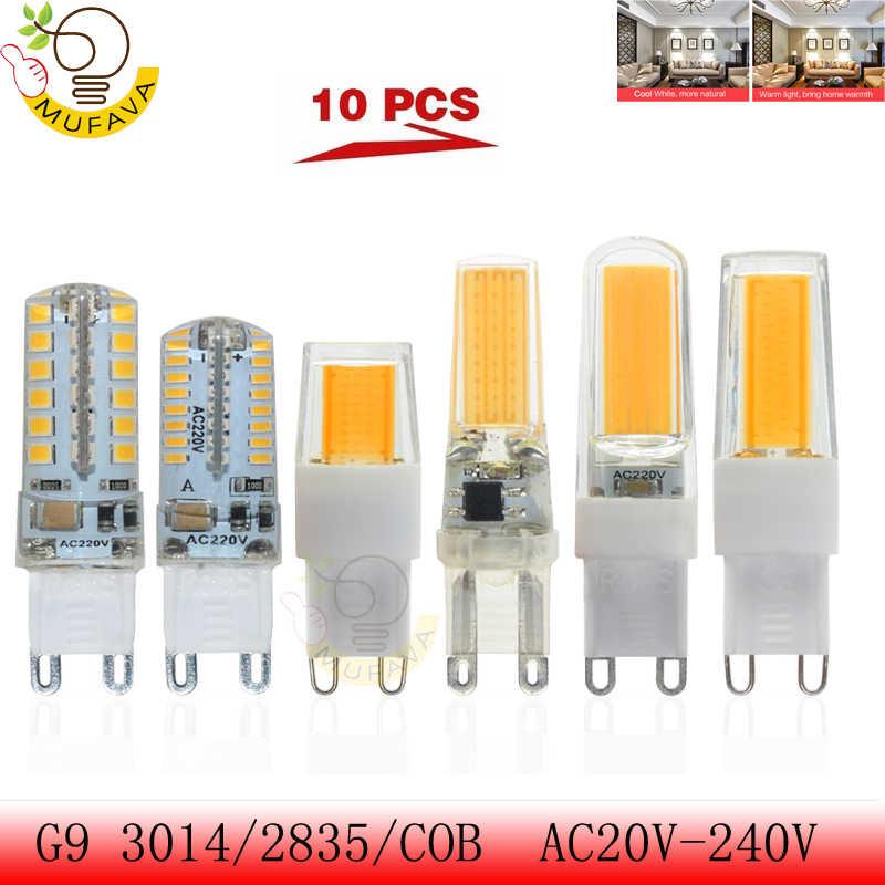 10PCS Mini G9 LED Corn Light SMD 2835 3014 COB Bulb Spotlight For Chandelier Replace 30W 40W 50W Halogen Lamp 5W 7W 8W 9W AC220V