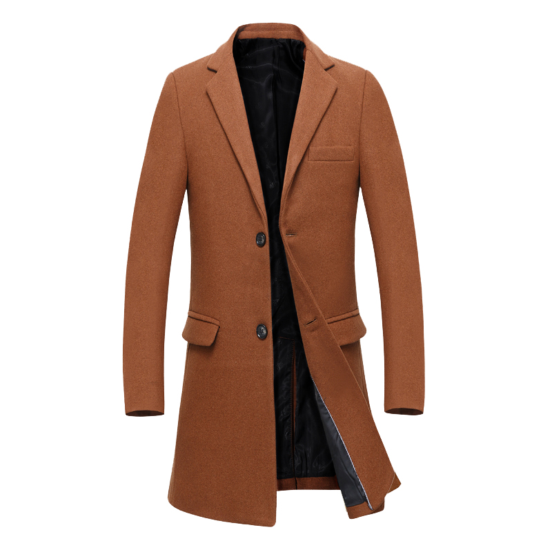 2017 winter new style Men's leisure fashion business thickening trench coat Men's wool jackets,Long style trench coat