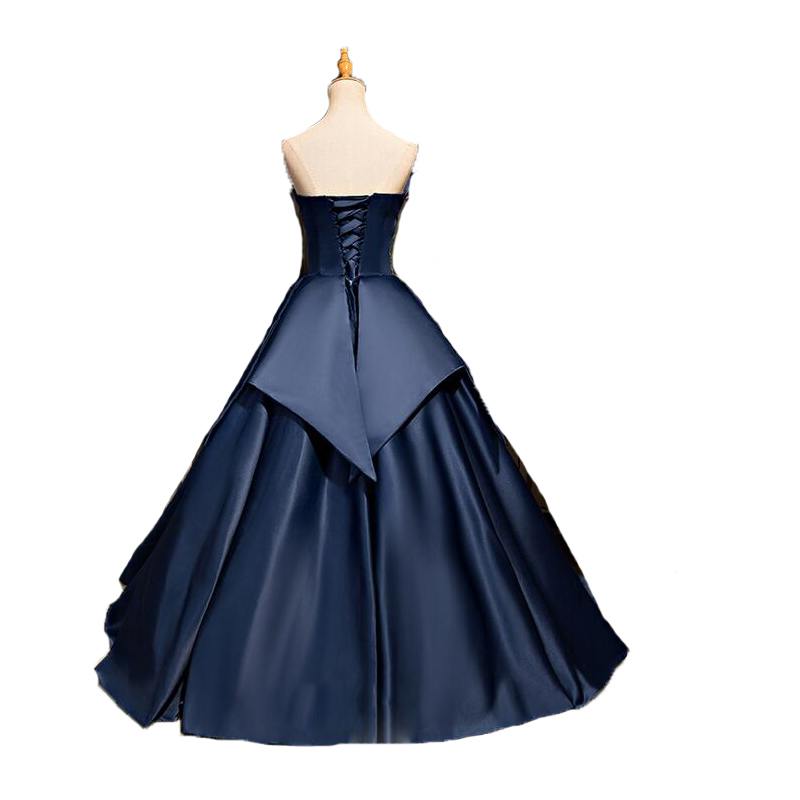 Free shipping navy blue ball gown lace appliques prom dress gothic princess  puffy vintage corset prom gowns hot sale-in Prom Dresses from Weddings    Events ... df75748a7192