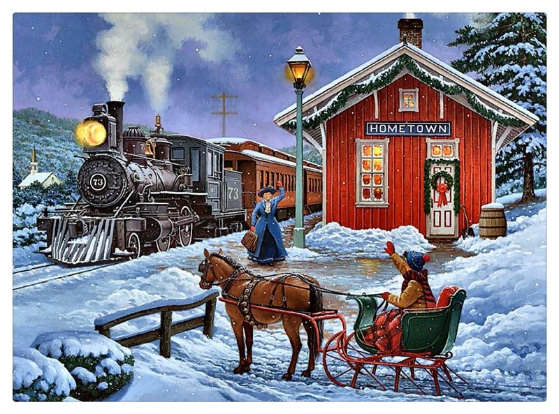 Village Wallpaper Hd 1080p 5 Led Lights Free Shipping Christmas Wall Art Canvas Print