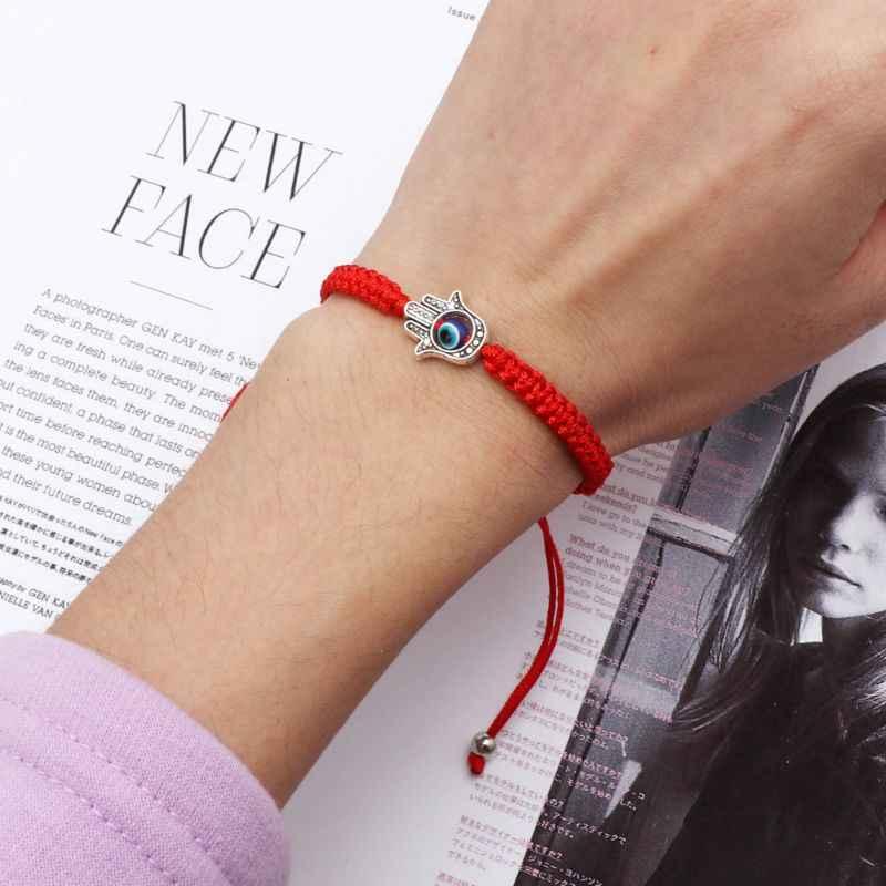 มือถักด้ายสีแดงสร้อยข้อมือ Charm ตุรกี Evil Eye Protection Lukcy Kabbalah สร้อยข้อมือ Fatima Hand เครื่องประดับ