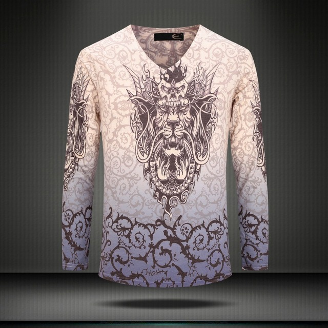 Lançamento exclusivo 2017 top camisa da forma t casual clothing marca t-shirt dos homens longo-sleeved tops tees de bens de luxo