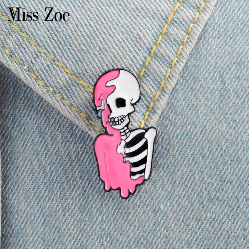 Half pink skeleton Enamel <font><b>Pin</b></font> Punk cool skull brooch Lapel <font><b>Pin</b></font> Simple icons <font><b>Pins</b></font> <font><b>Button</b></font> Badge Cartoon fashion Jewelry Gift image