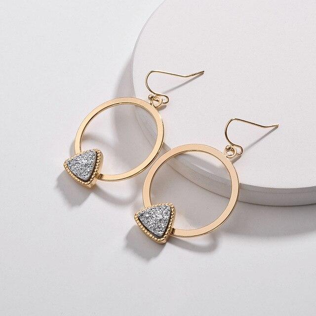 ZWPON 2018 New Gold Geometric Circle Triangle Druzy Earrings for Women 459f0a1efbfa