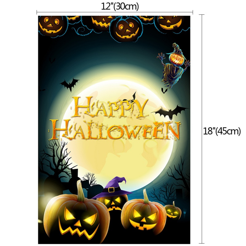 Halloween Garden Flag Castle Sorcerer Hat Pumpkin Bat Pattern Halloween Decoration Double Banner Sign