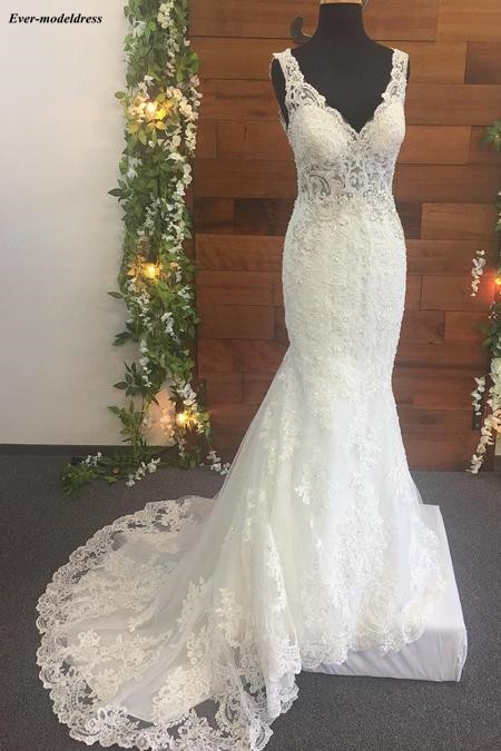 Image 2 - Mermaid Wedding Dresses 2019 Open Back V Neck Lace Appliques Beaded Sweep Train Illusion Top Sexy Bridal Gowns Robe De Mariee-in Wedding Dresses from Weddings & Events