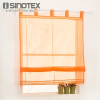 Roman Curtain Solid Sheer Window Panel Drape For Kitchen Living Room Tab Top Voile Screening Rod
