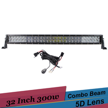 300W 5D Offroad LED Curved Light Bar 32 Inch Pickup Truck SUV 4WD 12v 24v Driving Fog Light for Ford F250 4×4 F350 Toyota Tacoma