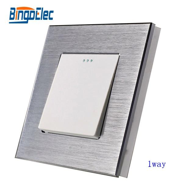 1 Gang 1way aluminio interruptor de la pared la luz del panel, color plata, estándar de EU/UK, Venta caliente