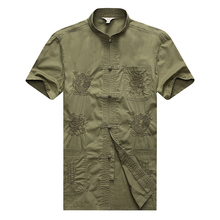 WAEOLSA Men Oriental Tunic Shirt Beige Army Green Tang Blouse Man Dragon Embroidery Top Male Ethnical Tunics Cotton Summer