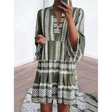 2019 Summer Women Striped Bohemia Shirt Dress Ladies Long Sleeve Floral Printed Loose V Neck Beach Boho Mini