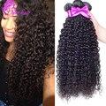 10A Необработанные Бразильские Вьющиеся Волосы Девственницы 3 Связки Бразильский Человеческих Волос Расширения Бразильские Волосы Девственницы Вьющиеся волосы человека