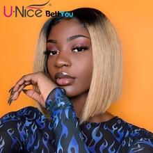 Unice שיער Bettyou פאת סדרת T4 613 תחרה שחורה נשים Ombre בלונדינית תחרה מול פאות מראש קטף ישר שיער טבעי פאות