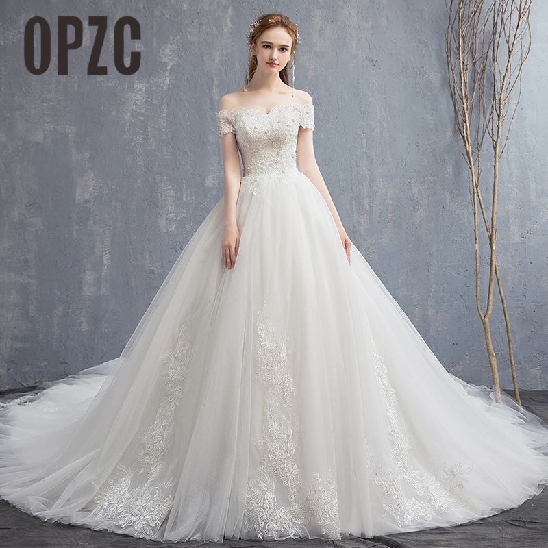 Luxury Lace with 120cm Long Cathedral Train Wedding Dress Appliques Boat ead Sexy BoNeck Bridal Gown