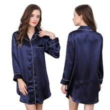 Solid 100% Silk Satin Women Long Sleep Tops with Full Sleeve Azure / Dark Blue / Light Purple / Pink Pyjamas sp0063