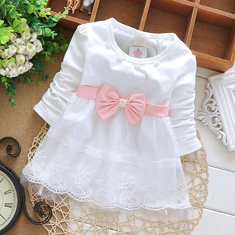 Free shipping 2017 children's clothing spring autumn child casual sweet t-shirt baby girls lace Bow cute princess t-shirt