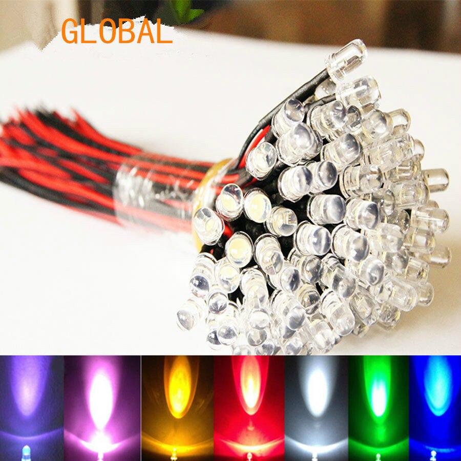 9V~12V LED 3mm Pre-Wired Prewired Ultra Bright Colours Light Lamp Bulb Set white 20cm 100pcs/lot