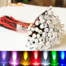 9V~12V LED 3mm Pre-Wired Prewired Ultra Bright Colours Light Lamp Bulb Set white 20cm 100pcs/lot