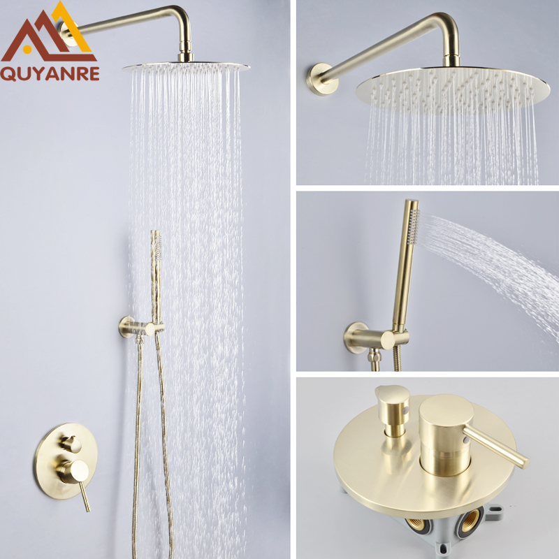 Quyanre Luxury Brushed Gold Shower Faucet Set Wall Mount 10 Rainfall Shower Tap With Embedded Box