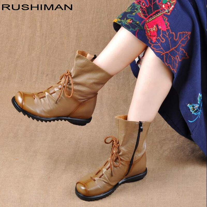 Original design Autumn winter genuine leather women boots fashion warm boots women's martin boots women shoes big size#35 41