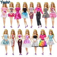 67e1413b261856 9 przedmiot/zestaw akcesoria dla lalek = 3 sztuk ubrania dla lalek sukienka  + 3 naszyjnik z tworzywa sztucznego + losowe 3 pary .