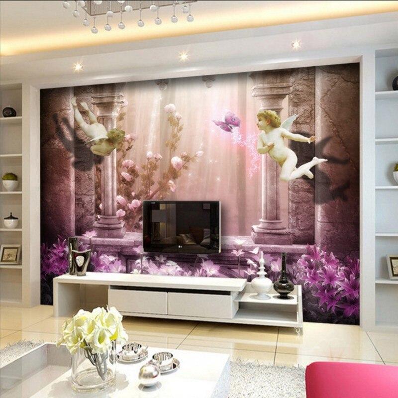 custom wall mural living room mural wallpaper bedroom home decoration  European angel stereo TV background wall