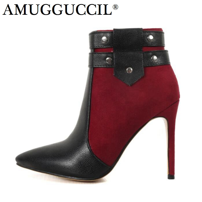 2017 New Plus Big Size 32-46 Black Red Blue Rivets Zip High Heel Spring Autumn Girls Females Lady Ankle Women Boots X1670 brand new sale sexy women tassel sandals blue black purple red ladies high heel rivets fringe shoes ay102 plus big size 32 43 10