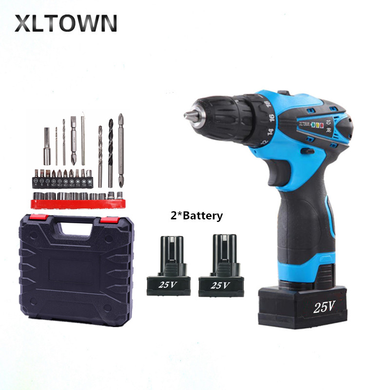цена на Xltown new 25v rechargeable lithium battery electric screwdriver with 2 battery two-speed switch mini electric drill power tool