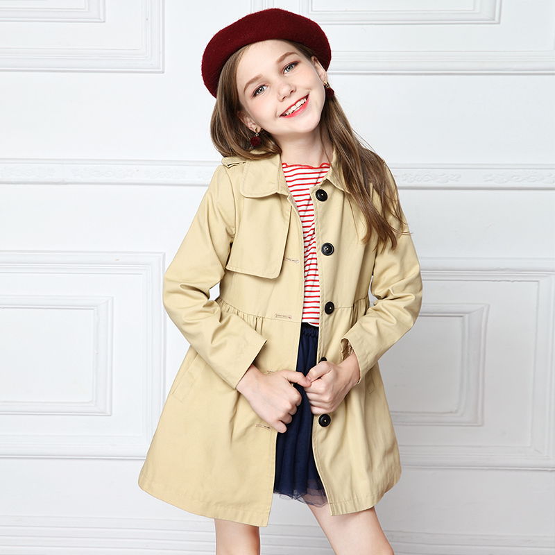 Girls' trench coat jacket foreign style 2018 new spring and autumn attire children's medium and long Korean leisure coat medium long style korean style hooded coat