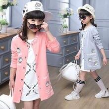Coat For Girls Autumn Kids Clothes For Girls Long Length Children Jackets For Girls Cartoon Letter