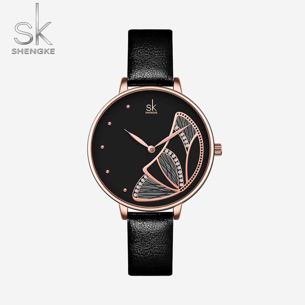 Shengke Brand Luxury Women Watches Fashion Ladies Watch Girls Gift Black Leather Wristwatch Quartz Relogio Feminino Montre Femme