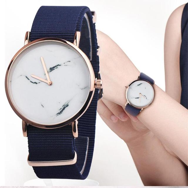 Fashion Unisexstone Grain Leather Band Analog Alloy Quartz Watch ladies watches