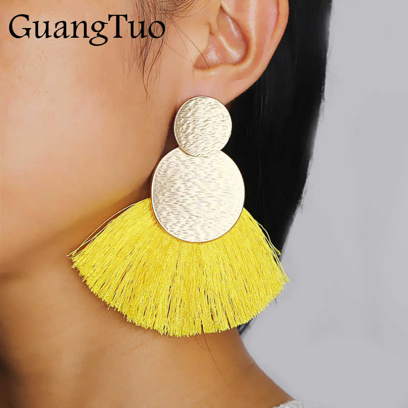 Boho Metal Big Long Tassel Braided Earrings Statement Ethnic Fringed Earring For Women Fan Shaped Earrings Fashion Brincos