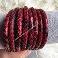 2016 новый красный кожи питона шнуры высокого класса люкс натуральная кожа шнур глянцевая 4 мм составляют высокого класса ювелирные красный питон кожаный шнур