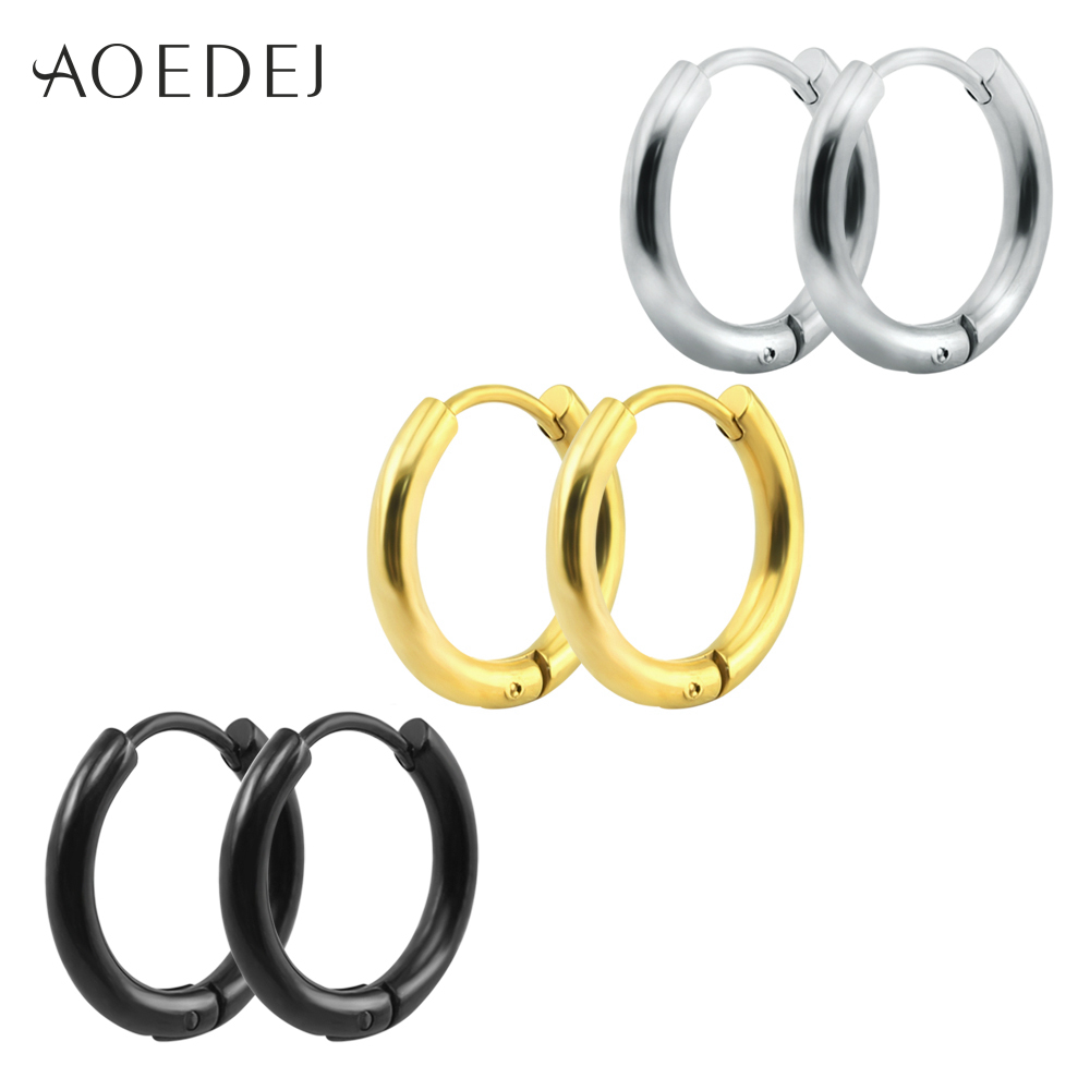 Aoedej Punk Gold Stainless Steel Hoop Earrings Huggie Simple Style Gd Hoop  Earring Circle Fashion Earrings