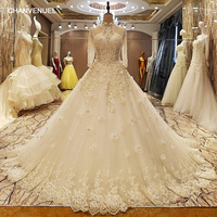 LS37053 Robe De Mariage 2017 Lace Up Back Floor Length Ball Gown Lace Wedding Dresses Organza