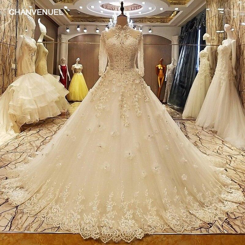 LS37053 robe de mariage 2017 dentelle up retour étage longueur robe de bal dentelle robes de mariée organza réel photos