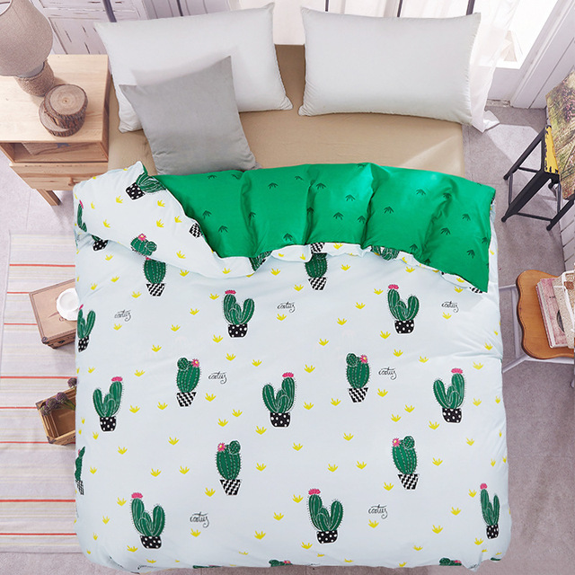 Single duvet cover green quilts cover 150*200cm RU family bedding red heart home textile bedclothes geometry comforter cover 1pc