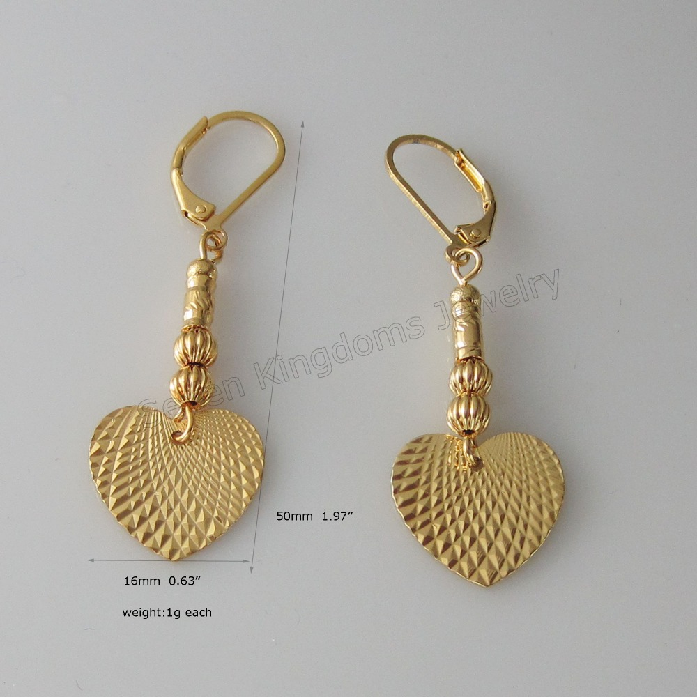 Min Order 10 Can Mix Design Plain Beads Connected Heart Charm Dangler Tall 1 97 Width 0 63 Yellow Gold Dubai Gp In Drop Earrings From Jewelry