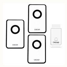 CACAZI 38 Tunes Wireless Doorbell Remote Door Bell,No need battery,Waterproof,EU/US/UK Plug 110-240V 1 transmitter+2 receivers