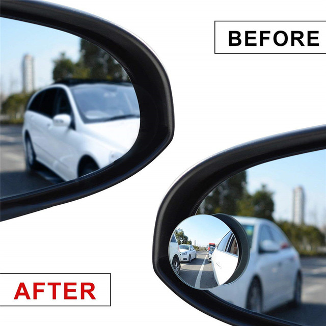 2pcs 360 Degree Rotable Rimless Universal Wide Angle Round Blind Spot Mirror Rearview Mirror Cover for Parking Safety Auto Parts