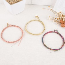 High Quality Acoustic Guitar 6 pcs/set steel Gauge Set of Guitar Guitarra Strings E-A Red Brass Rainbow Color(China)