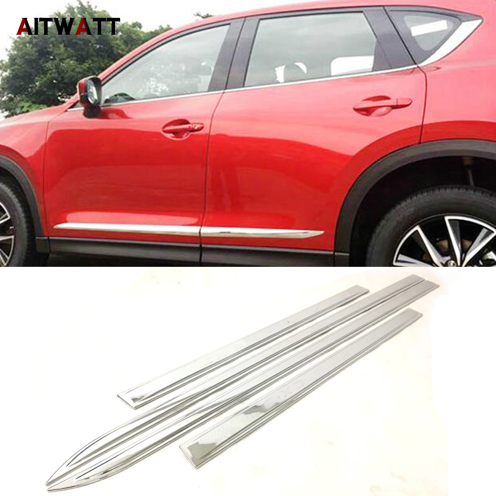 For Mazda CX-5 CX5 2017 2018 Door Side Body Molding Line Garnish Cover ABS Chrome Trims Protector 4Pcs/set Car Styling AITWATT
