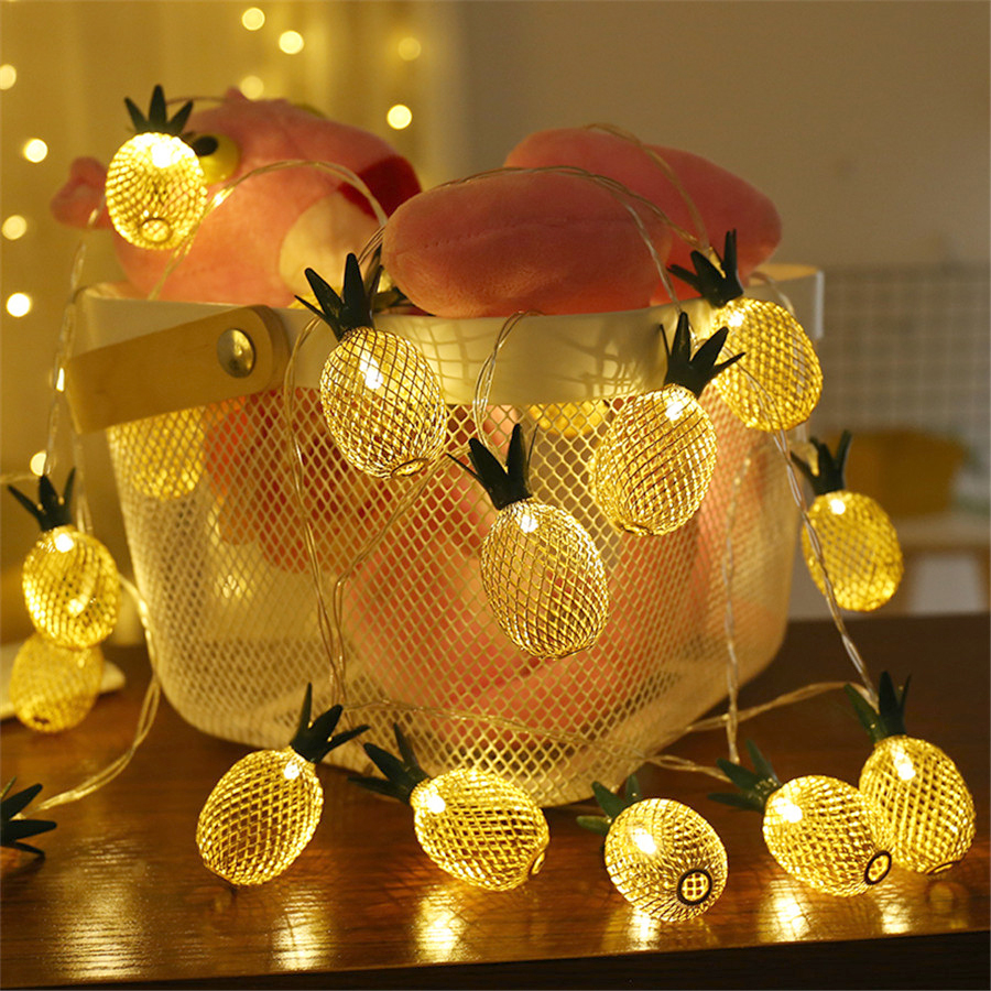 Thrisdar 5M 20 LED Retro Iron Metal Pineapple LED String Fairy Lights Garland 8 Mode Xmas Holiday Party Wedding Garland Light