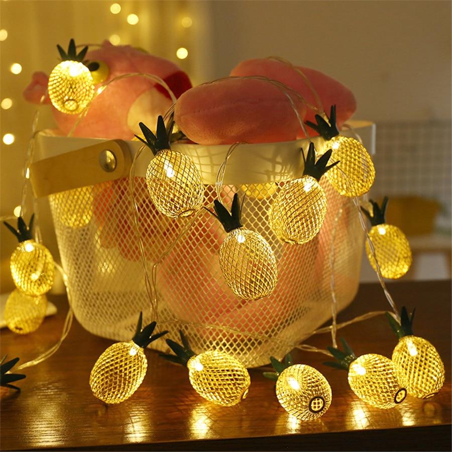 Thrisdar 5M 20 LED Retro Iron Metal Pineapple LED String Fairy Lights Garland 8 Mode Xmas Holiday Party Wedding Garland Light