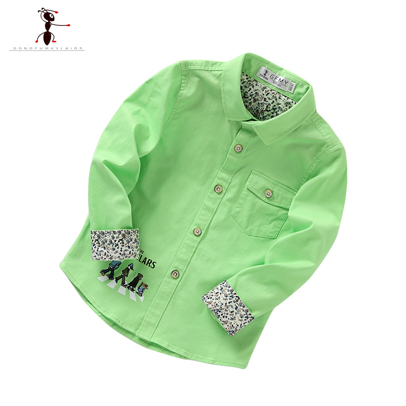 Turn-down Collar Full Length Casual Cotton White Green Yellow Solid Children Boys Shirts Blouse Clothes 2003