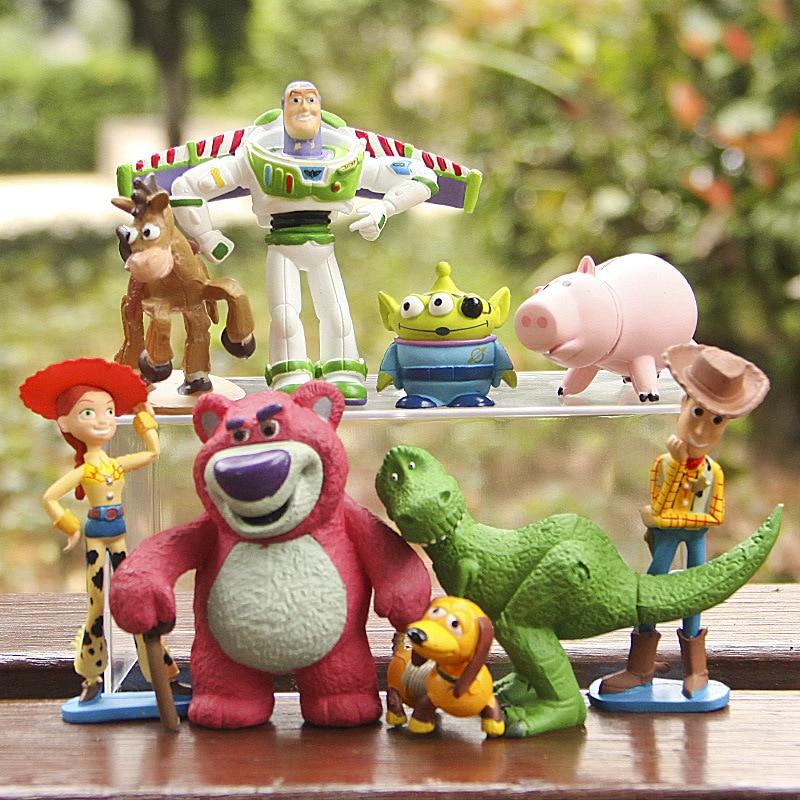 Disney 9pcs/Lot 7 8cmToy Story Buzz Lightyear Jessie Hamm