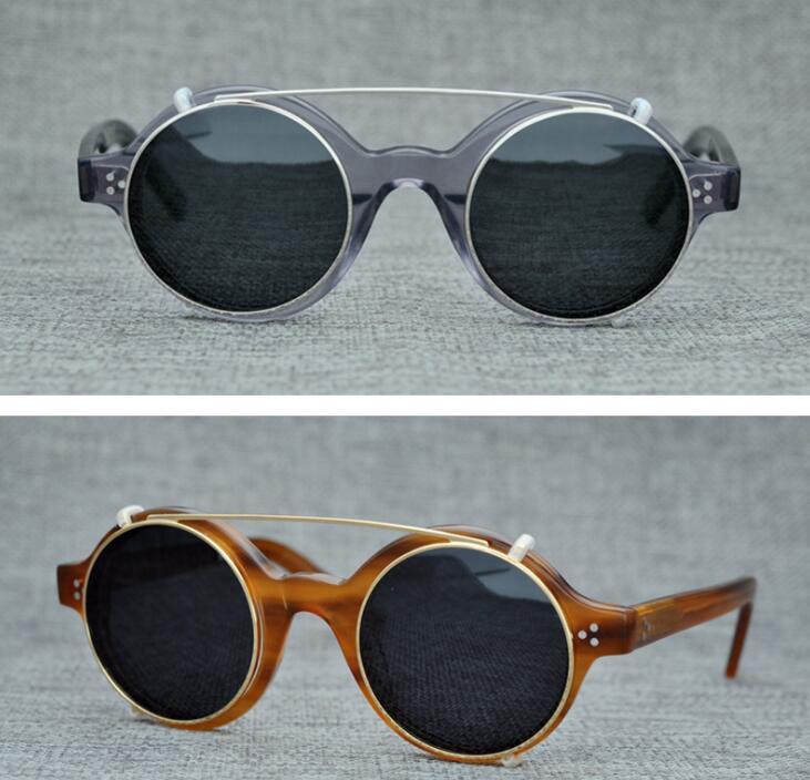 LKK UNISEX Hand made Japanese retro polarized sunglasses street style small face sunglasses with double lenses